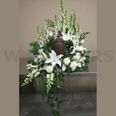 W Flowers product: Funeral Urn white flowers arrangement - Modern Arrangements Funéraires, Funeral Floral Arrangements, White Flower Arrangements, Get Well Flowers, Buy Flowers Online, Funeral Urns, Memorial Flowers, Sympathy Flowers, Altar