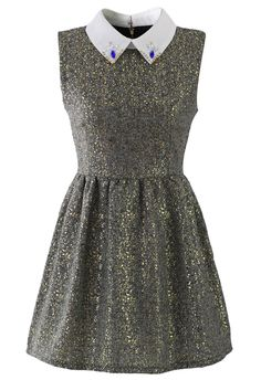 Sleeveless Tweed Dress with Decor Collar - New Arrivals - Retro, Indie and Unique Fashion