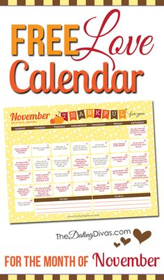 A printable couples calendar with a flirty romance tip for every day. They have one for every month of the year!!  What a fun marriage challenge to bring back the romance!