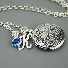 Personalized+Locket+Necklace+Silver+Initial+by+MyDistinctDesigns,+$34.00