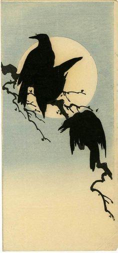 once upon a time: mon peuple pendant les nuits de pleine lune Shoda Koho Japanese Woodblock Print Crows and Full Moon Crow Art, Raven Art, Bird Art, Japanese Prints, Japanese Art, Japanese Culture, Vintage Japanese, Art Asiatique, Art Japonais