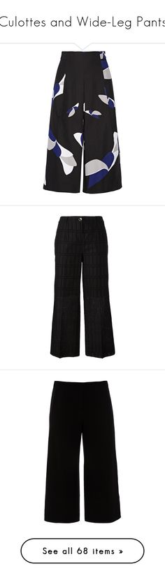 """Culottes and Wide-Leg Pants"" by mcclungkristina ❤ liked on Polyvore featuring pants, capris, trousers, high-waisted wide leg pants, wide leg cropped pants, cropped pants, high waisted crop pants, high-waisted pants, black and blumarine"