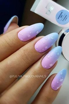 Matte Pink And Blue Ombre Nails With Drops Accents ★ Ombre . - Matte Pink And Blue Ombre Nails With Drops Accents ★ Ombre nails for summer, s - Summer Acrylic Nails, Best Acrylic Nails, Matte Nail Art, Blue Ombre Nails, Baby Blue Nails With Glitter, Nails Plus, Ombre Nail Designs, Manicure Y Pedicure, Dream Nails