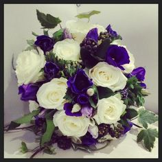 #bride #wedding #handtie #bouquet #ivy #lisianthus #rose #white #ivory #purple…
