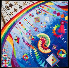 2015 Quilt Expo Quilt Contest, 2nd Place, Category 6, Wall Quilts, Hand Quilted Any Type: The Other Side of the Rainbow, Brenda Roach, Bloomfield, Ind. quiltexpo.com