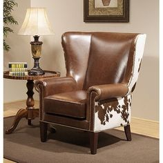 Distinction Leather Dalton Hair On Hide Lodge Wing Chair