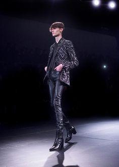 Saint Laurent AW15 Mens Swirl Patten Blazer Leather Trouser