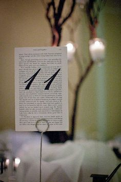 Wedding table numbers on book pages. I used Pride & Prejudice.