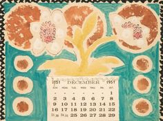 Hand painted calendars by Vanessa Bell done as Christmas gifts for friends in 1951