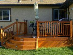 Custom designed cedar deck railing