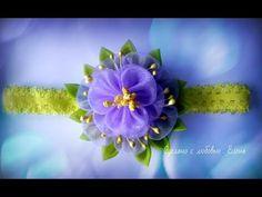 Flower Kanzashi Master Class hand made DIY Tutorial Канзаши МК Повязка на голову - YouTube