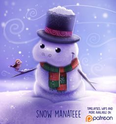 Daily Paint 1483. Snow Manatee by Cryptid-Creations.deviantart.com on @DeviantArt