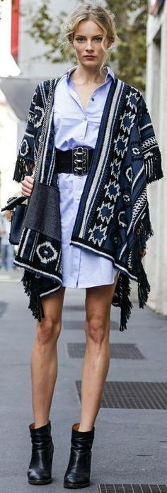 blanket sweater + shirtdress + wide belt + ankle boots