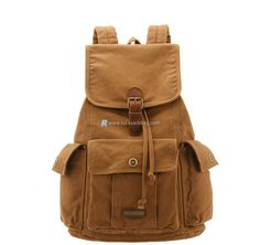 $75.99 Canvas Hiking Backpack Casual Daypack for College Brown