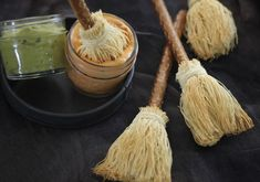 How to make pretzel broomstick party snacks. Wow party guests or add magic to snack time with witchy broomsticks by Heather Baird. Entree Halloween, Fete Halloween, Halloween Appetizers, Halloween Goodies, Halloween Food For Party, Halloween Treats, Appetizers For Party, Halloween Decorations, Halloween Entertaining