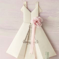 Fold an origami dress for a bridal shower invite! Or menu at an engagement or wedding or anniversary!