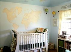 Project Nursery - Travel-Themed Nursery with World Map Mural - Project Nursery
