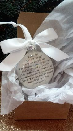 In Memory Grandmother Memorial Christmas Ornament - Sympathy Gift -  Loss of Loved One - Feather from an Angel - Remembrance Keepsake…