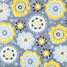 Gray, Black & Yellow Suzani Floral Apparel Fabric