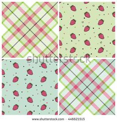 Seamless wall-paper tartane and strawberry, lime and mint.  A set of patterns for design of fabric, packing paper, etc.