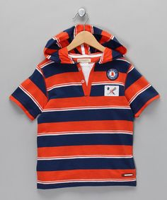Take a look at this Orange & Navy Stripe Hooded Tee - Boys by Krickets Boys on #zulily today!