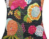 Kantha Style Cotton Cushion Cover from India - $12.99, via Etsy.
