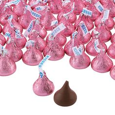 Hershey's®+Kisses®+400+Pc.+Pink+Chocolate+Candy+-+OrientalTrading.com Pink Candy Table, Gold Candy Buffet, Yellow Candy, Baby Shower Sweets, Candy Bar Wedding, Candy Bags, Pink Treats, Pink Chocolate, Hershey's Kisses
