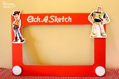 Etch a Sketch Photo Booth Prop - Design Dazzle #ToyStoryParty #EtchaSketch #photoboothprop