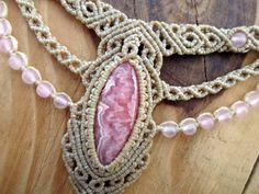 Rhodochrosite macrame necklace micro macrame by SelinofosArt