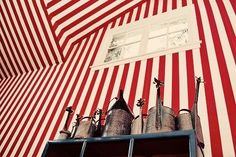 red stripes metal watering cans