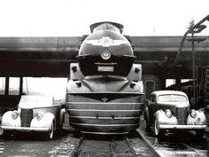 Studebaker President Convertible- Pennsylvania Railroad's Broadway Limited-Studebaker Club Sedan. Design by Raymond Lowey, 1938.