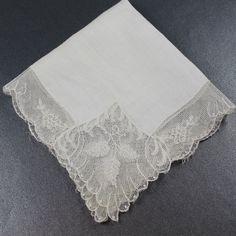 Vintage Ivory Soft Cotton Lace Trimmed Handkerchief