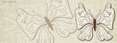 Brown Cream Butterfly Facebook Cover CoverLayout.com