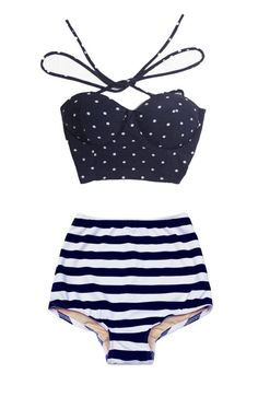 Navy Blue Polka dot Top and Navy Blue/White Stripe High Waisted High-Waist Highwaisted Swimsuit Swimwear Bikini Bathing Swim suit wear S M Costume Bleu Marine, Style Marin, Summer Outfits, Cute Outfits, Jolie Lingerie, Vintage Bikini, Cute Bathing Suits, Cute Swimsuits, Bikini Swimwear
