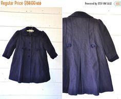 SALE 50s 60s Wool Coat / Girl 's Coat / Blue WOOL by ItaLaVintage