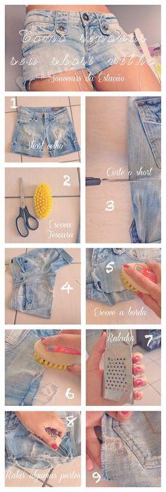 Como renovar seu short ou calça velha. Renew your old shorts.