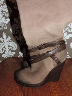 Item: Jessica Simpson 7.5 M Medium Tall Brown Suede Wedge Boots Super Cute!!