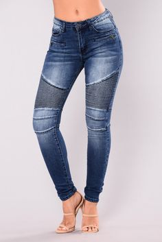 On The Highway Moto Jeans - Blue Wash