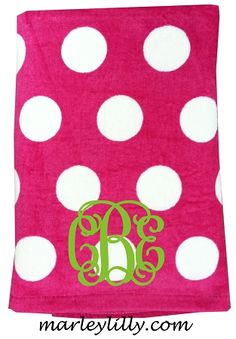 Monogrammed Towel for Charlotte Monogrammed Beach Towels, Monogram Towels, Applique Monogram, Embroidery Applique, Beach Day, Beach Trip, Marley Lilly, Pink Polka Dots, Silhouette Cameo