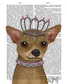 Chihuahua And Tiara  Art Print Dog Print wall art wall by FabFunky