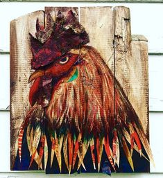 Rooster painting by Glitterfest artist Heather Reichard
