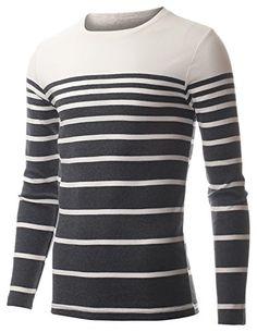 FLATSEVEN Mens Crewneck Long Sleeve Gradual Stripe T-Shirt (TRL3005) Grey, XL FLATSEVEN http://www.amazon.com/dp/B00QCYXMM6/ref=cm_sw_r_pi_dp_wCYYub1SQV8A5 #CASUAL #TEE #FLATSEVEN #Striped