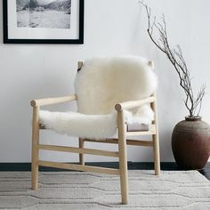 West Elm Leather & Fur Sling Chair