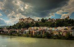 The castle and the dark cloud...Burghausen, Germany.  Europe's longest castle... by Stefanie Raab on 500px.