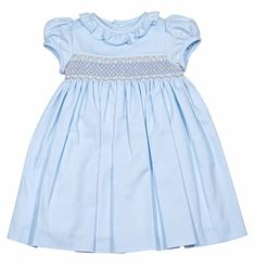 Luli & Me Baby / Toddler Girls Blue Dress - Ruffle Collar - Smocked in Tan