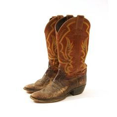 Justin Leather & Reptile Cowboy Boots / Men's sz 75 by nickiefrye, $74.00