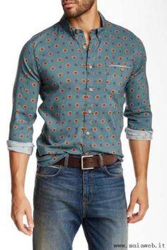 Freenote - Western Camicia Oxford - (AQUA - 53% cotone, 47% viscosa - Lavabile in lavatrice) - Uomo> Abbigliamento> Camicie> Casuale>