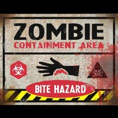 bite hazard sign halloween decor prop road lawn decoration sticker for sale by halloween fx - Fright Catalog Halloween Decorations