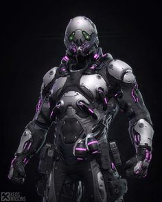 The new Venom exosuit. These produce an anti-toxin that grants immunity to poison and enhances strength, dexterity, and combat skills. The only drawback is that some have proven to be addicted. Robot Concept Art, Armor Concept, Mode Cyberpunk, Cyberpunk Clothes, Cyberpunk 2077, New Venom, Tactical Armor, Futuristic Armour, Sci Fi Armor
