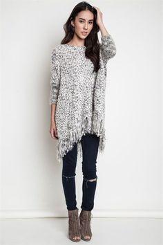 Snow Flurries Fringe Trim Sweater - Black + White